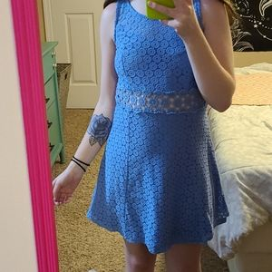 EUC Blue Lace Skater Dress